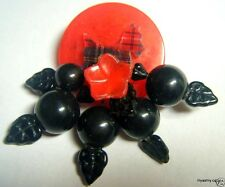 RED BAKELITE POKER CHIP Tartan Plaid LUCITE SCOTTIE Black CHERRY PIN Handmade