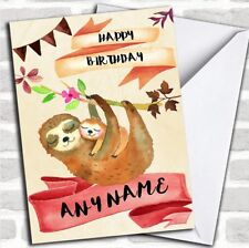 Watercolour Rustic Sloth & Baby Personalized Birthday Card