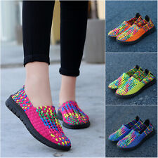 New Spring Lady Casual Running Shoes Contrast Color Woven Mesh Fabric Flat Shoes