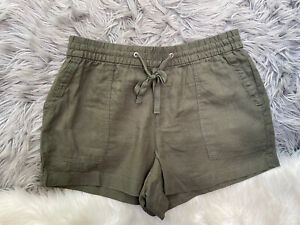 GAP Womens Green LINEN BLEND Casual Drawstring Shorts Size M
