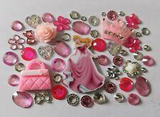 Joblot Flatback Disney Aurora Theme Cabochon Gem Diamonte Pink Resin Princess