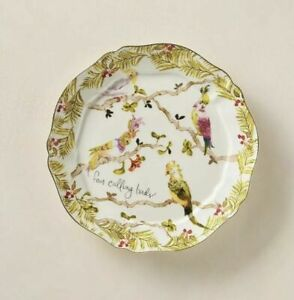 Anthropologie Inslee Fariss 12 Days of Christmas Plate #4 Calling Birds -1 Plate