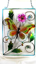 Garden Wall Plaque Butterfly Metal with Glass Inserts Porch or Patio Decor