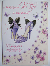 STUNNING EMBOSSED GLITTERED PURPLE SHOES SPECIAL WIFE BIRTHDAY GREETING CARD