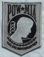 POW/MIA Veteran - Military Embroidered Biker Vest / Jacket Patch (Grey & Black)