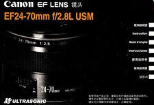 Canon Eos 35mm Slr Camera Ef 24-70mm f/2.8L Usm Lens Instruction Manual