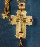 Quality Gold Plated Orthodox Pectoral Cross Engolpion Pendant Bishop Episcopal