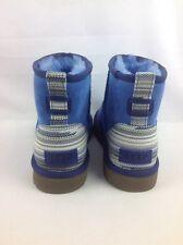 UGG AUSTRALIA CLASSIC MINI SERAPE WOMENS SHEEPSKIN SUEDE BOOTS BLUE 7 US/ 38EUR