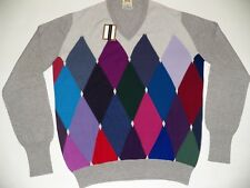 """William Lockie V Collo 2 strati Cashmere Argyle Diamante Golf Sweater Maglione 40"""" Grigio"""
