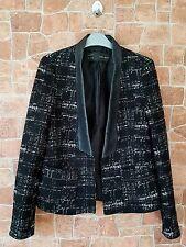 Ladies Zara Smart Jacket Faux Leather Collar Size Small UK 8-10 Office Work (B)