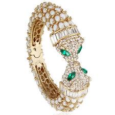 Panther Leopard Animal Bangle Bracelet Cuff Clear Rhinestone Crystal Gold GP