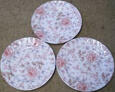 SET  OF  3  JOHNSON BROS  ROSE CHINTZ  DINNER PLATES  9 3/4 in.  made in England