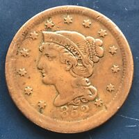 1852 Large Cent Braided Hair One Cent 1c Better Grade ERROR OFF CENTER  #9149