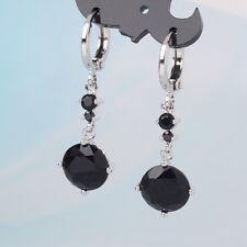 Designer earrings!18k white gold filled friendship black sapphire dangle earring