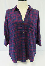 NWT HOLLISTER by Abercrombie Women's Classic Plaid Shirt Navy & Pink Size Small