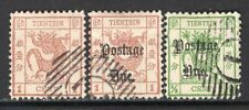 Tientsin Dragon Labels 3 Stamps Cancelled
