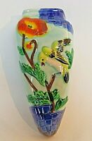"Vintage Wall Pocket Tropical Green Bird Made In Japan Colorful Planter Vase 7"""