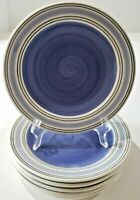 "Pfaltzgraff Rio Blue Stripe SIX Salad Plates 8.5"" Mexico"