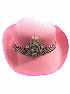 Ladies Women's Police Constable Hat Pink Hen Nights Plays Fancy Dress Accessory
