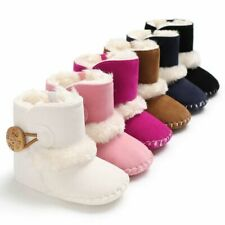 Winter Warm Shoes 0-18M Newborn Infant Baby Girls Snow Boots Solid Button Plush