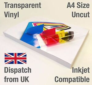 A4 Transparent Vinyl Sticker Paper Clear Glossy Sheet Inkjet Printable Only