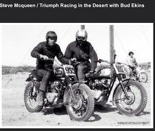 Steve McQueen/Triumph Racing In The desert with Bud Ekiins Motorcycle Poster!