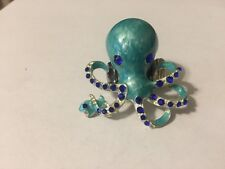 FASHION JEWERLY LADIES OCTOPUS RING STRETCH BAND TEAL ROYAL BLUE & SILVER STONE