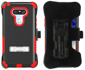 RED RUGGED TRI-SHIELD STAND CASE BELT CLIP HOLSTER SCREEN PROTECTOR FOR LG G5