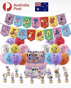 BTS BT21 KPOP Party Decorations Birthday Balloons Cake Toppers Letter Banners