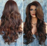 Women Brown Fancy Party Function Natural Curly Wavy long Hair Costume Full Wigs