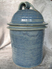 Artist Made Signed Pottery Large Storage Canister Cookie Jar - Blue