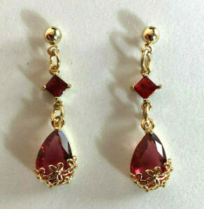 """Garnet Earrings Gold Pltd Crystal Red Raspberry Glass Flower Teardrop 1.3"""" #1232"""
