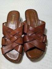 St Johns Bay Brown Weave Leather Open Toe Sandals Shoes Womens 7 M EUC