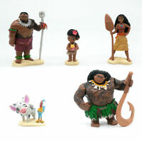 6 Pcs Moana Figure Cake Topper PVC Play Toy Maui Chief Tui the Rooster For Kids