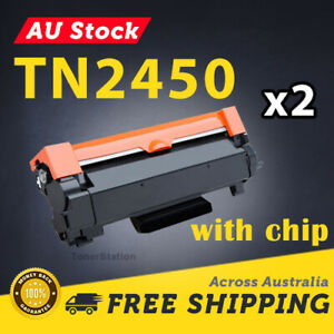 2x Generic Toner TN2450 CHIPPED for Brother HL-L2350DW HL-L2375DW HL-L2395DW