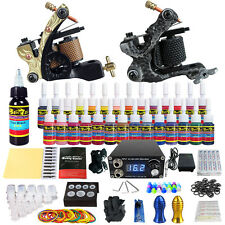 Professional Complete Tattoo Machine Kit 2 Guns 28 Inks Power Supply Needle Grip