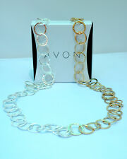 "Avons DOUBLE TROUBLE 24"" Long Two Tone (Gold & Silver) Chainlink Necklace NIB"