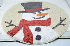 """Winter Wonderland Holiday Scenic Snowman Bath Rug 25"""" Round Cotton Mat"""