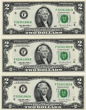 3- 1995 $2  FEDERAL RESERVE NOTES, CRISP, UNCIRCULATED, CONSECUTIVE NUMBERS