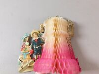 Vintage German Die Cut Out Valentine's Day card. Honeycomb Tower Boy and Girl