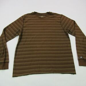 North Face Pullover Shirt Vintage Long Sleeve Adult Medium Brown Stripes Hiking