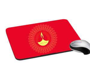 Mouse Pad Happy Diwali Print Mouse Pad Red Mouse Pad for Office, Home