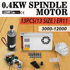 0.4KW Frässpindel + Schaltnetzteil + Drehzahlregler Mach3 Fräsmotor 13pcs ER11