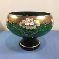 Neu 💎 Bohemia Kristall 💎 Glas Vase/Obstschale, Grün Gold Schwarz 💎 NEU