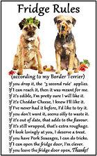 """Border Terrier Dog Gift - Large Fridge Rules flexible Magnet 6"""" x 4"""""""