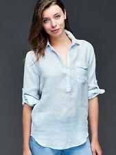 GAP Women's 100% Linen Stripe Henley, Aqua Stripe, Casual, Size L, NWT