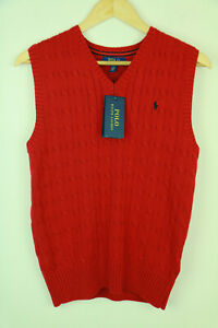 POLO RALPH LAUREN RED CABLE KNIT PULLOVER - SIZE 14-16 years 160/80