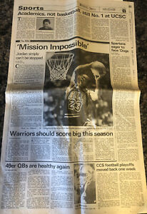 Michael Jordan, November 3, 1989, Sports Page Cover, Santa Cruz, CA, Joe Montana