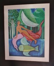 MERMAID MEETING Signed CUBA Screenprint Graphic by Star Cuban Artist ALICIA LEAL
