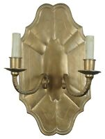"""Vintage French Inspired Brass Two Light Candle Wall Sconce Scalloped Gold 18"""""""